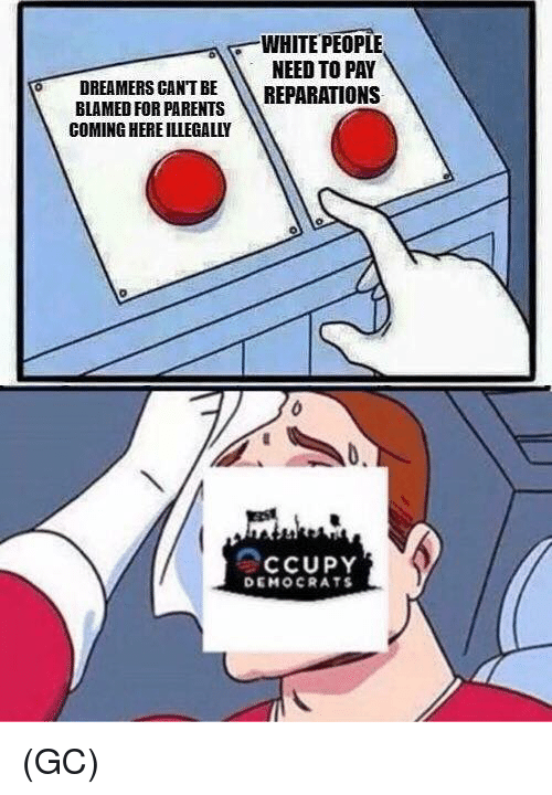 Memes, Parents, and White People: WHITE PEOPLE  NEED TO PAY  DREAMERS CANT BE REPARATIONS  BLAMED FOR PARENTS  COMING HERE ILLEGALLY  CCUPY  DEMOCRATS (GC)