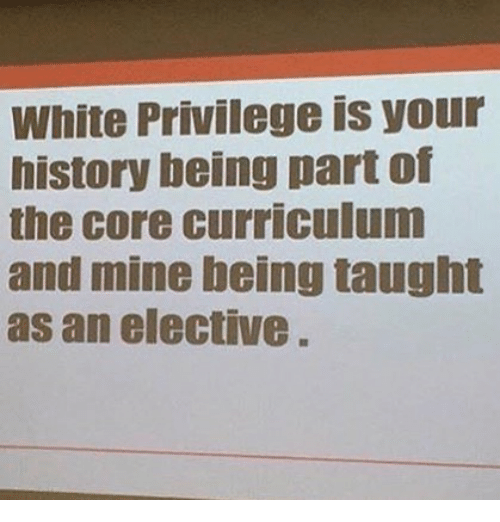 Memes, History, and White: White Privilege is your  history being part of  the core curriculum  and mine being taught  as an elective  CI