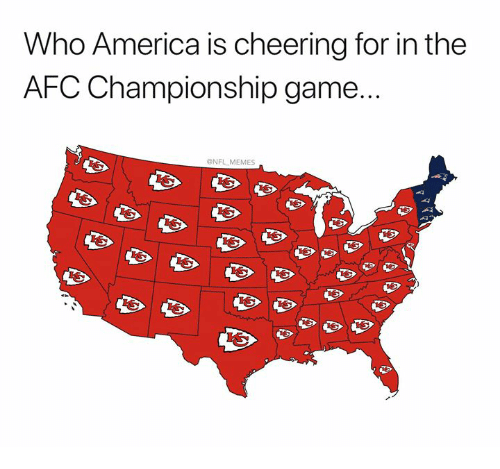 AFC Championship Game, America, and Memes: Who America is cheering for in the  AFC Championship game...  NFL MEMES