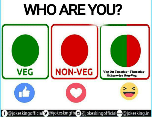 Who Are You Veg Non Veg Veg On Tuesday Thursday Otherwise