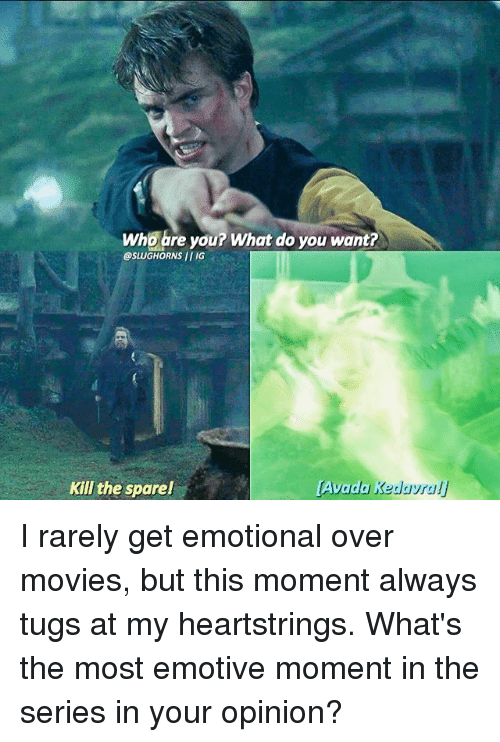 Memes, Movies, and 🤖: Who are you? What do you want?  @SLUGHORNSII IG  Kill the spare!  Avada I rarely get emotional over movies, but this moment always tugs at my heartstrings. What's the most emotive moment in the series in your opinion?
