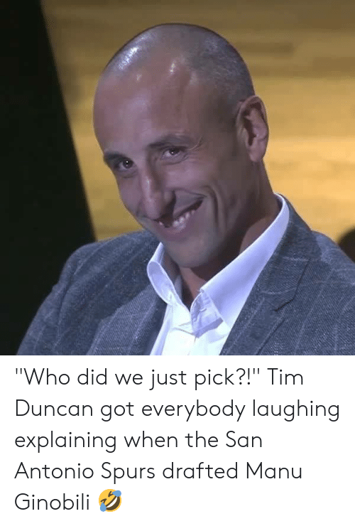 "Manu Ginobili, Memes, and San Antonio Spurs: ""Who did we just pick?!""  Tim Duncan got everybody laughing explaining when the San Antonio Spurs drafted Manu Ginobili 🤣"