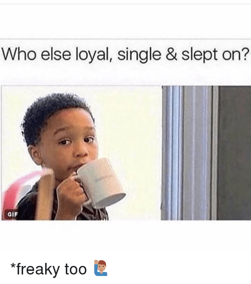 Gif, Memes, and Single: Who else loyal, single & slept on?  GIF *freaky too 🙋🏽‍♂️