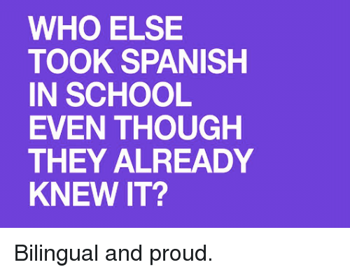 Memes, School, and Spanish: WHO ELSE  TOOK SPANISH  IN SCHOOL  EVEN THOUGH  THEY ALREADY  KNEW IT? Bilingual and proud.