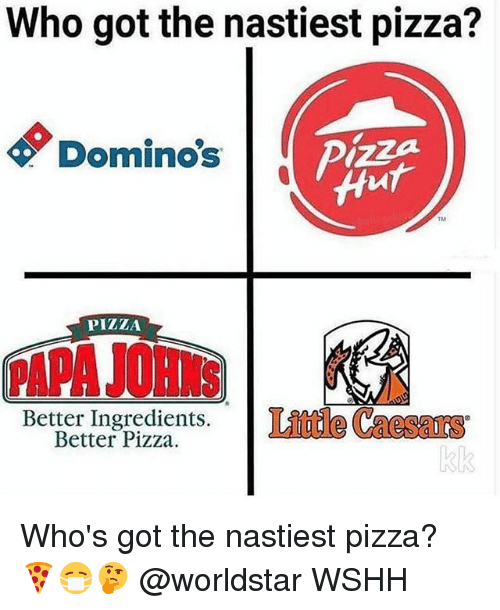 Memes, Pizza, and Worldstar: Who got the nastiest pizza?  Domino's  izza  TM  PIZIA  Better Ingredients. Linude Caesaras  Better Pizza. Who's got the nastiest pizza? 🍕😷🤔 @worldstar WSHH
