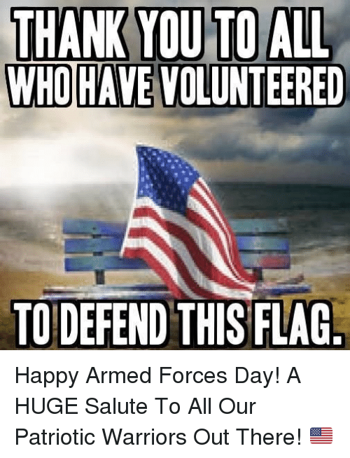 Memes, Happy, and Warriors: WHO HAVE VOLUNTEERED  TO DEFEND THIS FLAG Happy Armed Forces Day!  A HUGE Salute To All Our Patriotic Warriors Out There! 🇺🇸️