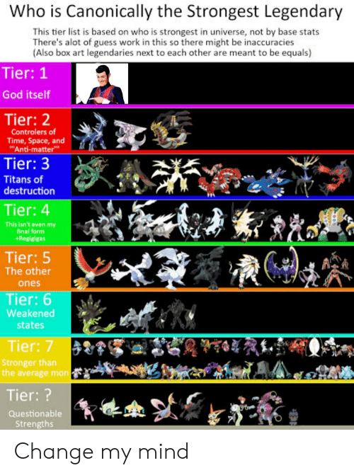 Who Is Canonically the Strongest Legendary This Tier List Is