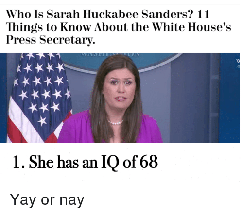 White, Dank Memes, and Who: Who Is Sarah Huckabee Sanders? 11  Things to Know About the White House's  Press Secretary.  1. She has an IQ of68