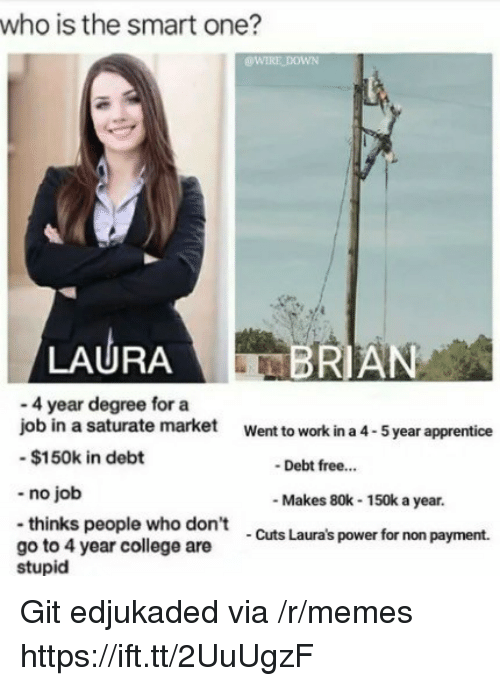 College, Memes, and Work: who is the smart one?  WIRE DOWN  LAURA  RIAN  - 4 year degree for a  job in a saturate market  -$150k in debt  -no job  -thinks people who don't  go to 4 year college are  Went to work in a 4-5 year apprentice  Debt free..  Makes 80k-150k a year.  Cuts Laura's power for non payment.  stupid Git edjukaded via /r/memes https://ift.tt/2UuUgzF