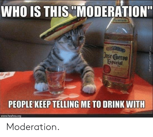"""Moderation, Who, and Org: WHO IS THIS MODERATION""""  ase uervo  Isperial  PEOPLE KEEP TELLING ME TO DRINK WITH  www.heahea.org Moderation."""