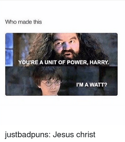 Jesus, Target, and Tumblr: Who made this  YOU'RE A UNIT OF POWER, HARRY,  I'M A WATT? justbadpuns:  Jesus christ