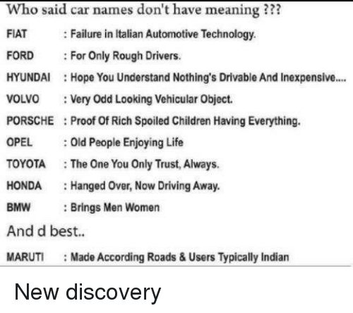 Bmw Driving And Honda Who Said Car Names Dont Have Meaning