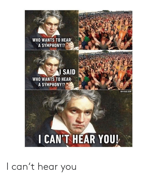 9gag, Classical Art, and Com: WHO WANTS TO HEAR  A SYMPHONY!?  I SAID  WHO WANTS TO HEAR  A SYMPHONY!?  MA 9GAG.COM  I CAN'T HEAR YOU! I can't hear you