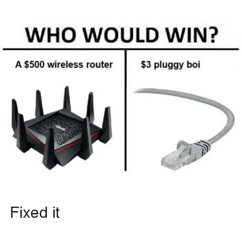 Router, Boi, and Who: WHO WOULD WIN?  A $500 wireless router  $3 pluggy boi Fixed it