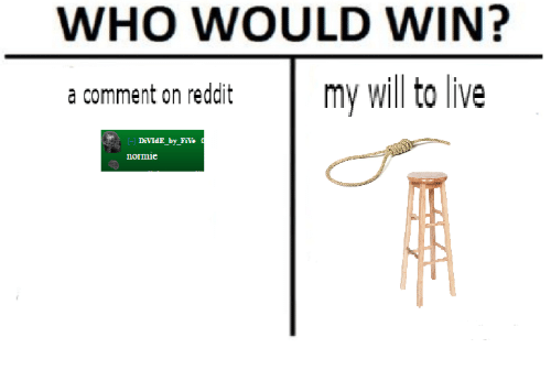 Who Would Win A Comment On Reddit My Will To Live Divide By Five