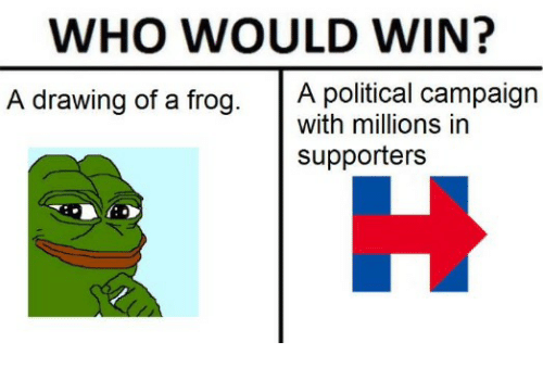 who would win a political campaign a drawing of a frog with
