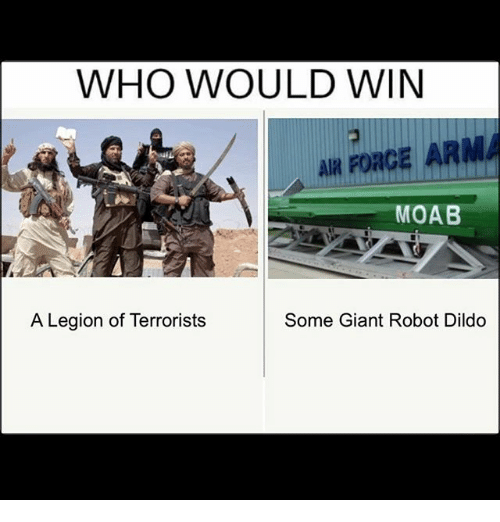 Dildo, Memes, and Air Force: WHO WOULD WIN  AIR FORCE ARM  MOAB  A Legion of Terrorists  Some Giant Robot Dildo