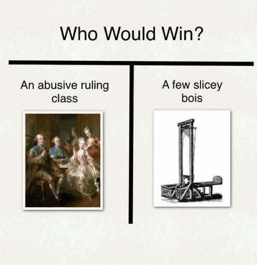 Persimmon, Class, and Who: Who Would Win?  An abusive ruling  class  A few slicey  bois