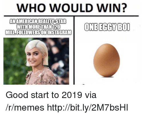 Memes, Good, and Http: WHO WOULD WIN?  AN AMERICANREALITY STAR  WITH MORETHAN120  MILLFOLLOWERSONINSTAGRAM Good start to 2019 via /r/memes http://bit.ly/2M7bsHI