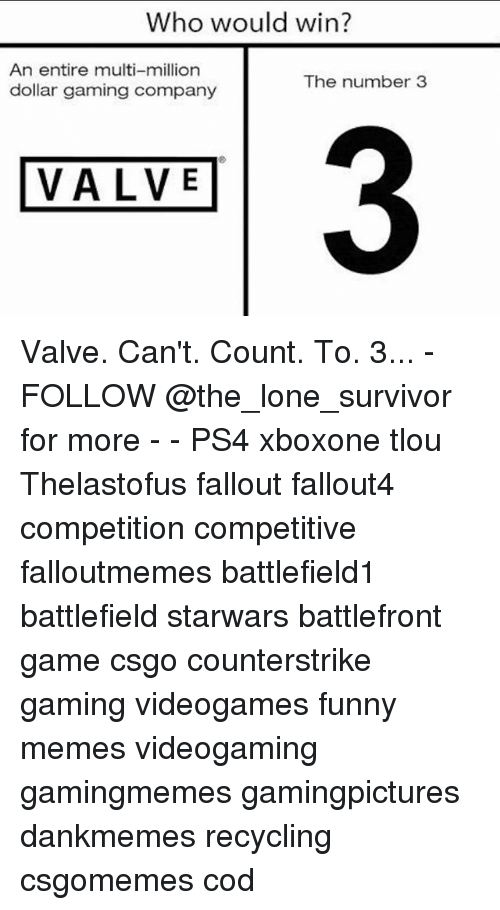 Funny, Memes, and Ps4: Who would win?  An entire multi-million  dollar gaming company  The number3  3  VALVE Valve. Can't. Count. To. 3... - FOLLOW @the_lone_survivor for more - - PS4 xboxone tlou Thelastofus fallout fallout4 competition competitive falloutmemes battlefield1 battlefield starwars battlefront game csgo counterstrike gaming videogames funny memes videogaming gamingmemes gamingpictures dankmemes recycling csgomemes cod