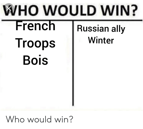 Winter, Ally, and History: WHO WOULD WIN?  French Russian ally  Winter  Troops  Bois Who would win?