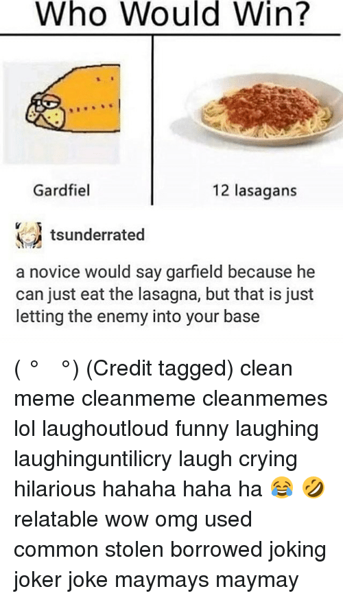 Who Would Win Gardfiel 12 Lasagans A Novice Would Say Garfield Because He Can Just Eat The Lasagna But That Is Just Letting The Enemy Into Your Base ʖ Credit