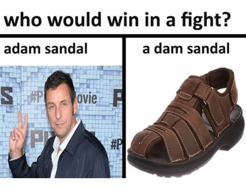 Sandals, Dank Memes, and Fight: who would win in a fight?  a dam sandal  adam sandal  ovie