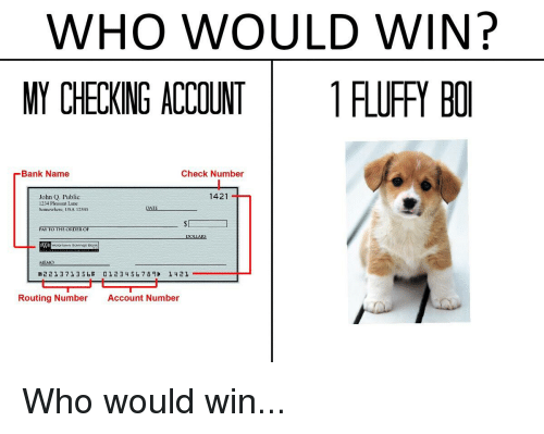 WHO WOULD WIN? MY CHECKING ACCOUNT 1FLUFFY BO Bank Name