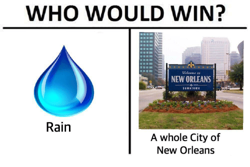 Dank Memes: WHO WOULD WIN?  NEW ORLEANS  DOWNTOWN  Rain  A whole City of  New Orleans