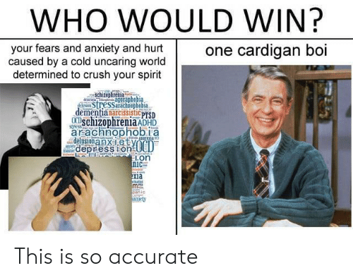 Crush, Anxiety, and Spirit: WHO WOULD WIN?  one cardigan boi  your fears and anxiety and hurt  caused by a cold uncaring world  determined to crush your spirit  Schizoparenia  USSarachnophobia  retisagoraphobia  dementianarcissisticpTSD  aracanophobil a  schizophreniaADHD  delusionanxietV  .on  xia This is so accurate