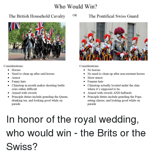 Drinking, Funny, and Horses: Who Would Win?  OR  The British Household Cavalry  The Pontifical Swiss Guard  Considerations  Considerations  e Horses  » Need to clean up after said horses  e Armor  » Funny hats  * Chinstrap in mouth makes shouting battle  » No horses  * No need to clean up after non-existent horses  » More armor  * Funnier hats  * Chinstrap actually located under the chin  cries rather difficult  Armed with swords  Principle duties include guarding the Queen,  drinking tea, and looking good while oin  parade  where it's supposed to be  » Armed with swords AND halberds  * Principle duties include guarding the Pope,  »  *  eating cheese, and looking good while on  parade In honor of the royal wedding, who would win - the Brits or the Swiss?