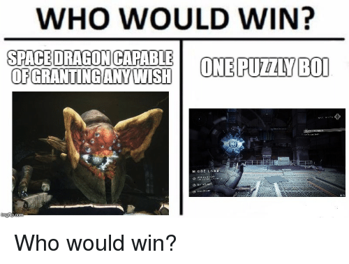 Destiny, Space, and Who: WHO WOULD WIN?  SPACE DRAGONICAPABLE  OFGRANTINGANYWISH  ONE PUZZYBOI  NIOBE LAB