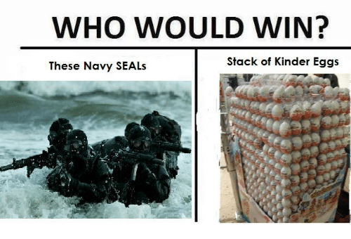 Navy, Seal, and Belligerent British Empire: WHO WOULD WIN?  Stack of Kinder Eggs  These Navy SEALs