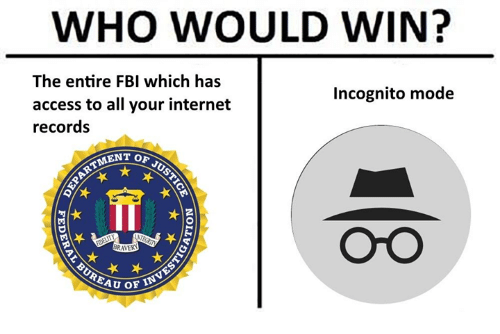 Fbi, Internet, and Access: WHO WOULD WIN?  The entire FBI which has  access to all your internet  records  Incognito mode  MENT OF  iTi  OrO