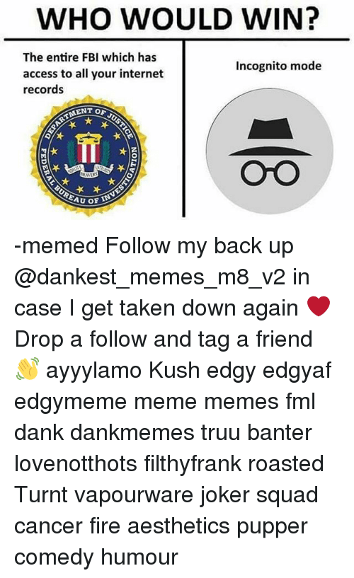 Dank, Fbi, and Fire: WHO WOULD WIN?  The entire FBI which has  access to all your internet  records  Incognito mode  ENT OF J  OrO -memed Follow my back up @dankest_memes_m8_v2 in case I get taken down again ❤ Drop a follow and tag a friend 👋 ayyylamo Kush edgy edgyaf edgymeme meme memes fml dank dankmemes truu banter lovenotthots filthyfrank roasted Turnt vapourware joker squad cancer fire aesthetics pupper comedy humour