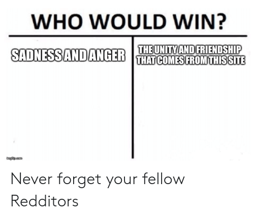 WHO WOULD WIN? THE UNITY ANDFRIENDSHIP SADNESS ANDANGER THAT