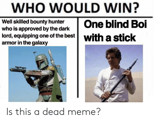 Meme, Best, and Approved: WHO WOULD WIN?  Well skilled bounty hunter  who is approved by the dark  lord, equipping one of the best  with a  armor in the galaxy  eticok Is this a dead meme?