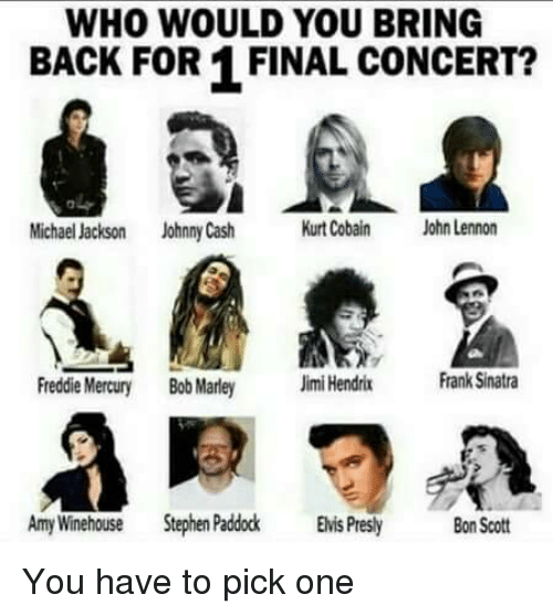 WHO WOULD YOU BRING BACK FOR 1 FINAL CONCERT? Michael