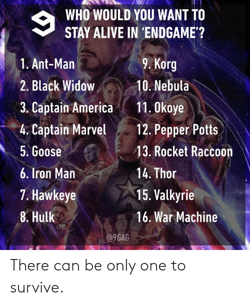 Alive, Dank, and Iron Man: WHO WOULD YOU WANT TO  STAY ALIVE IN 'ENDGAME'?  9. Korg  1. Ant-Man  2. Black Widow10. Nebula  3. Captain America11. 0koye  4. Captain Mavel 12. Pepper Potts  5. Goose  6. Iron Man  7. Hawkeye  8. Hulk  13. Rocket Raccoon  14. Thor  15. Valkyrie  16. War Machine  a9GAG There can be only one to survive.