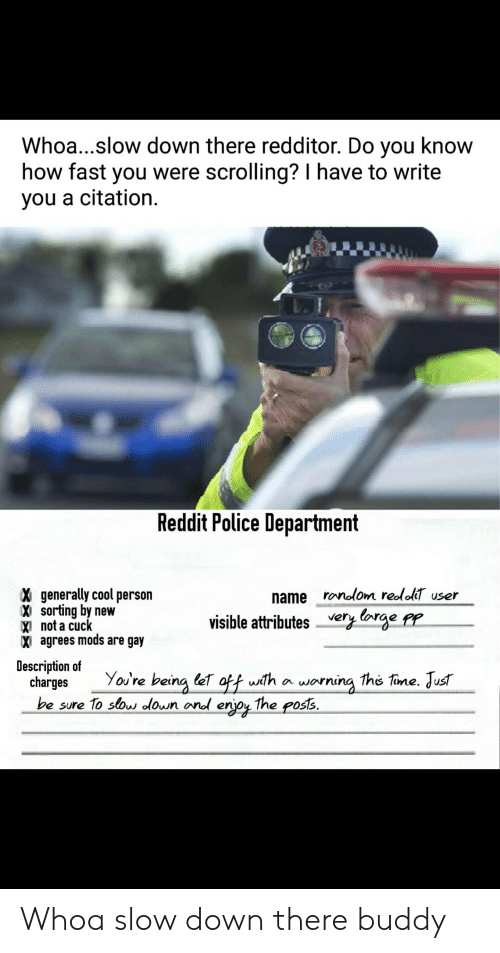Police, Reddit, and Cool: Whoa...slow down there redditor. Do you know  how fast you were scrolling? I have to write  you a citation.  Reddit Police Department  X generally cool person  Xi sorting by new  XI not a cuc  X agrees mods are gay  name ronolom redoli user  visible attributes very borge fr  i agres nmods are gar  Description of  charges You're being (et off wth a worning the tine. Just  be sure 1o slow olown ond enjou the posts. Whoa slow down there buddy