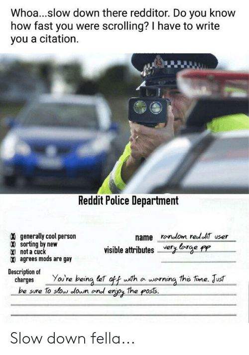 Police, Reddit, and Cool: Whoa...slow down there redditor. Do you know  how fast you were scrolling? I have to write  you a citation.  Reddit Police Department  X generally cool person  X sorting by new  X not a cuclk  x agrees mods are gay  name ronolom redlol user  visible attributes er rye P  Description of  charges Yov're being leT off wth aworning The tine. Jus  be sure To stow down ond erjoy The poss Slow down fella...