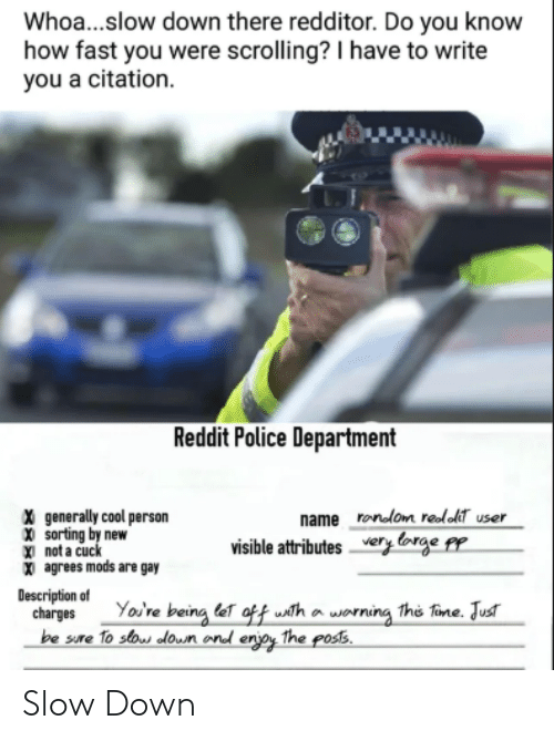 Police, Reddit, and Cool: Whoa...slow down there redditor. Do you know  how fast you were scrolling? I have to write  you a citation.  Reddit Police Department  X generally cool person  X sorting by new  X) not a cu  X agrees mods are gay  name ronom reloT user  visible attributes very orge Pp  Description of  charges Yov're being eT oftf usth o worning This Tine. Jus  be sure To so loun ond erjpy The pos5 Slow Down