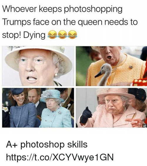 Funny, Photoshop, and Queen: Whoever keeps photoshopping  Trumps face on the queen needs to  stool Dying 부부부 A+ photoshop skills https://t.co/XCYVwye1GN