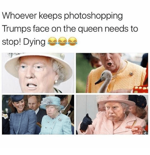 Funny, Queen, and Face: Whoever keeps photoshopping  Trumps face on the queen needs to  stop! Dying