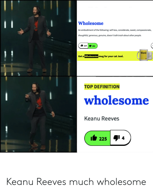 Reddit, Trash, and Definition: Wholesome  An embodiment of the following self-less, considerate, sweet, compassionate,  thoughtful, generous, genuine, doesn't tolk trash about other people  14 291  Word  Get a Wholesome mug for your cat José  TOP DEFINITION  wholesome  Keanu Reeves  225 4 Keanu Reeves much wholesome