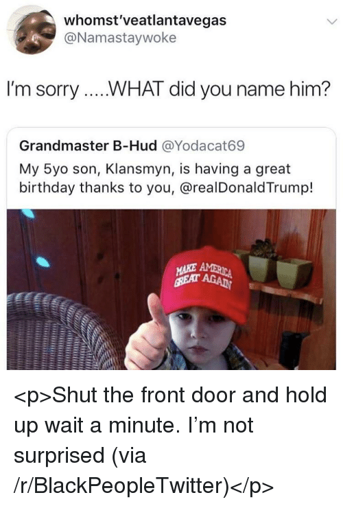 Birthday, Blackpeopletwitter, and Sorry: whomst'veatlantavegas  @Namastaywoke  I'm sorry....WHAT did you name him?  Grandmaster B-Hud @Yodacat69  My 5yo son, Klansmyn, is having a great  birthday thanks to you, @realDonald Trump!  าร <p>Shut the front door and hold up wait a minute. I'm not surprised (via /r/BlackPeopleTwitter)</p>