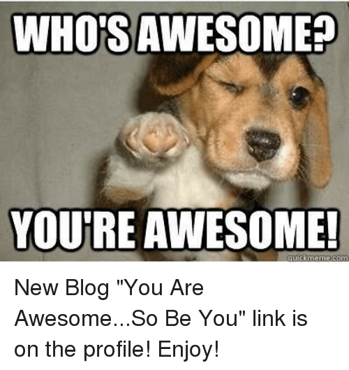 whos awesomee you re awesome new blog you are awesomeso be you link