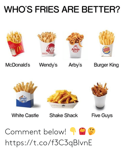 Burger King, McDonalds, and Wendys: WHO'S FRIES ARE BETTER?  Arbys  IN  McDonalds Wendy's Arbys Burger King  hite  Cast  White Castle  Shake ShackFive Guys Comment below! 👇🍟🤔 https://t.co/f3C3qBlvnE
