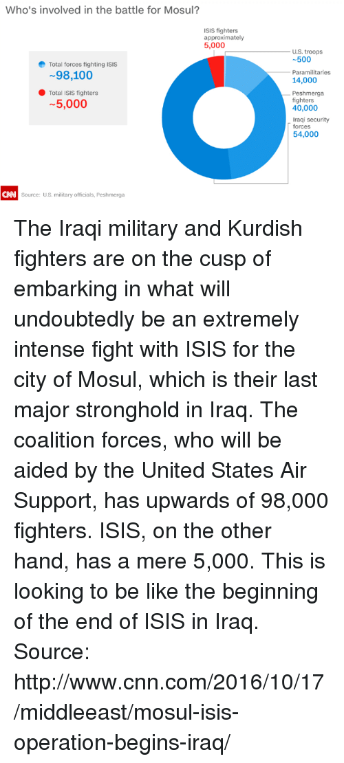 Be Like, cnn.com, and Dank: Who's involved in the battle for Mosul?  ISIS fighters  approximately  5,000  e Total forces fighting ISIS  98,100  Total ISIS fighters  5,000  CNN Source: US, military officials, Peshmerga  U.S. troops  500  Paramilitaries  14,000  Peshmerga  fighters  40,000  Iraqi security  forces  54,000 The Iraqi military and Kurdish fighters are on the cusp of embarking in what will undoubtedly be an extremely intense fight with ISIS for the city of Mosul, which is their last major stronghold in Iraq.   The coalition forces, who will be aided by the United States Air Support, has upwards of 98,000 fighters. ISIS, on the other hand, has a mere 5,000.   This is looking to be like the beginning of the end of ISIS in Iraq.   Source: http://www.cnn.com/2016/10/17/middleeast/mosul-isis-operation-begins-iraq/