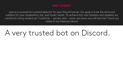 WHY ΑYΑΝΑ? Ayana Is a Powerful Customizable Bot for Your Discord